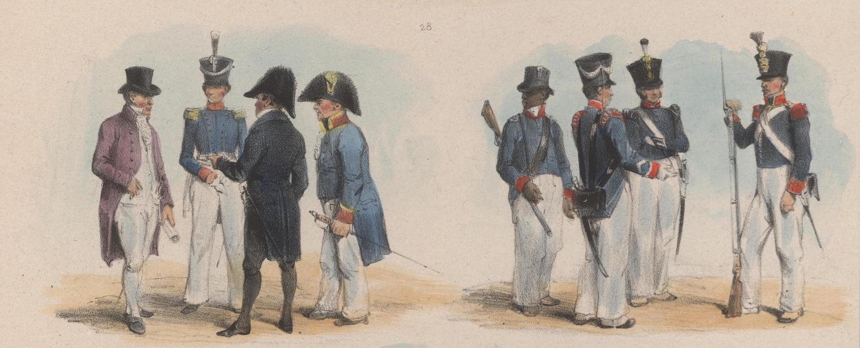 Voyage a Surinam - Quatre employes superieurs en grand costume. Troupes de la garnison, chasseurs et cannonniers, en un negre du corps affranchi (1839)