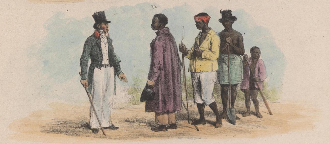 Voyage a Surinam - Un agent de police, deux bastiens ou conducteurs d'esclaves, et un esclave du gouvernement (1839)