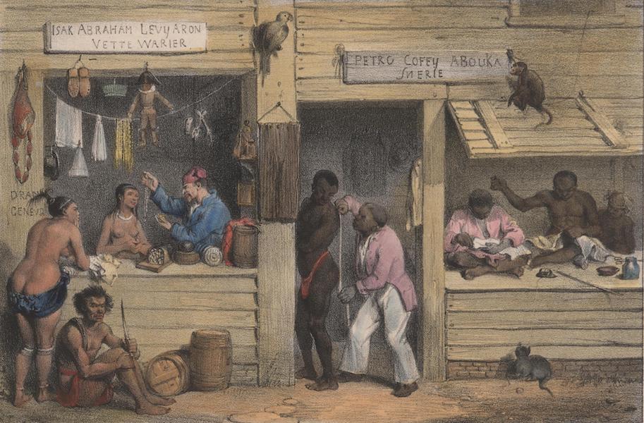 Voyage a Surinam - A gauche, la boutique d'un vette-warier ou detaillant; a droite, la boutique d'un snerie ou tailleur (1839)