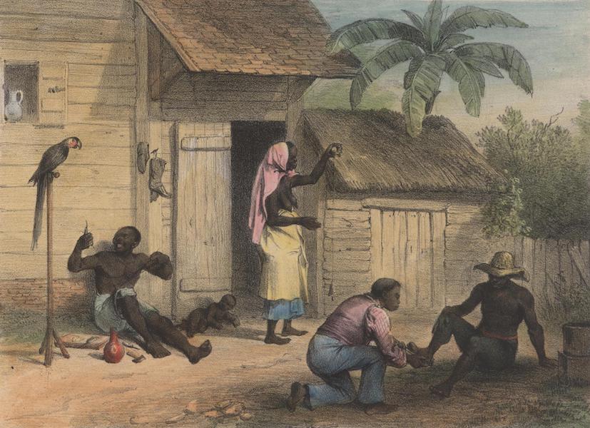 Voyage a Surinam - Atelier d'un cordonnier; a gauche, une vieille negresse filant du coton; a droite, un negre libre se faisant prendre mesure de soulier; au milieu, un esclave travaillant a une chaussure (1839)