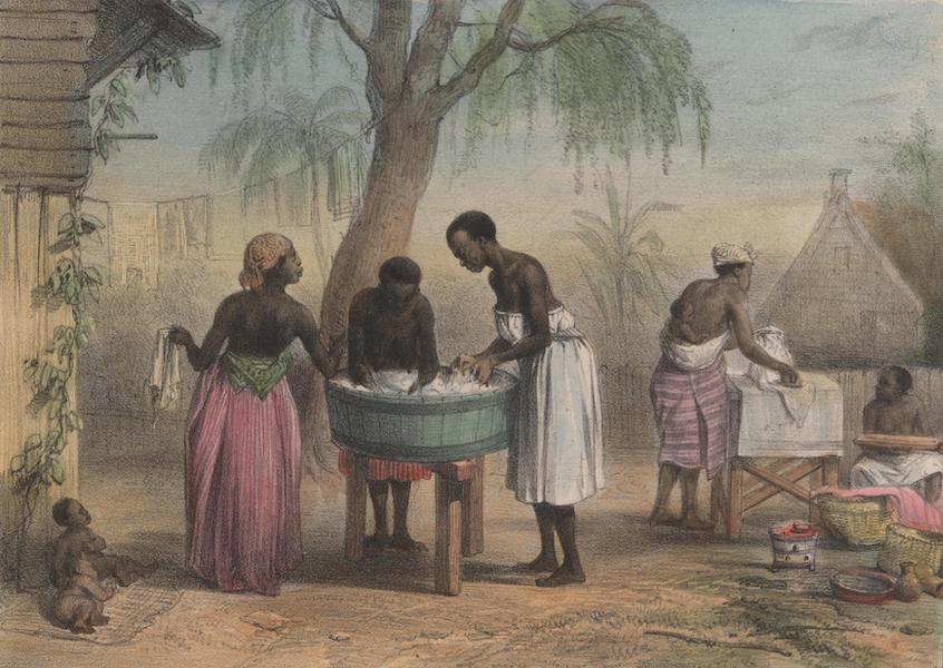 Voyage a Surinam - Negresses occupees a laver du linge; a droite, une negresse occcupee a repasser (1839)