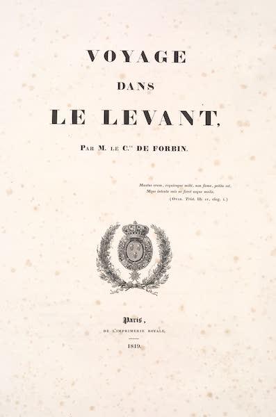 Voyage dans le Levant - Title Page (1819)