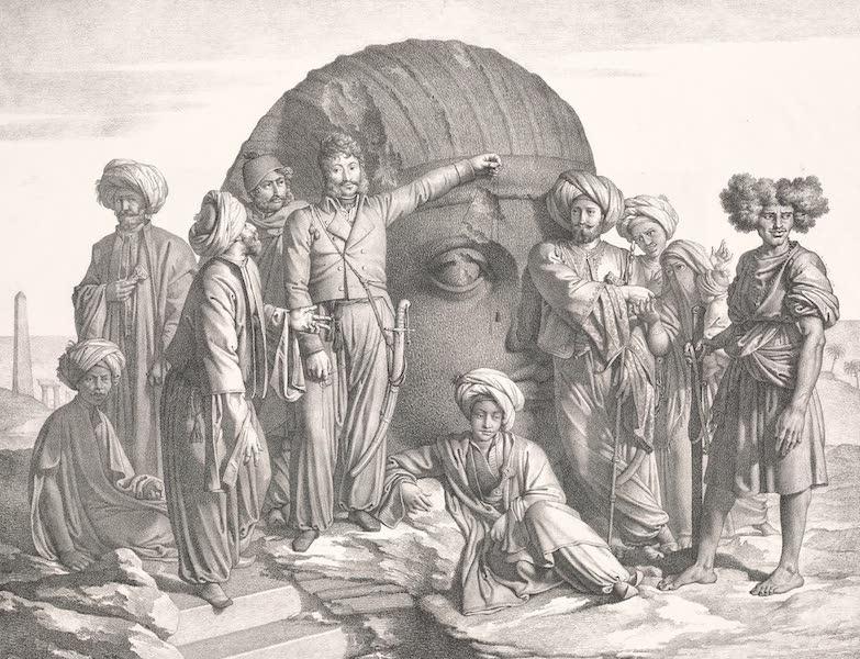 Voyage dans le Levant - M. Drovetti et sa suite measurant un fragment de colosse dans la haute Egypte (1819)