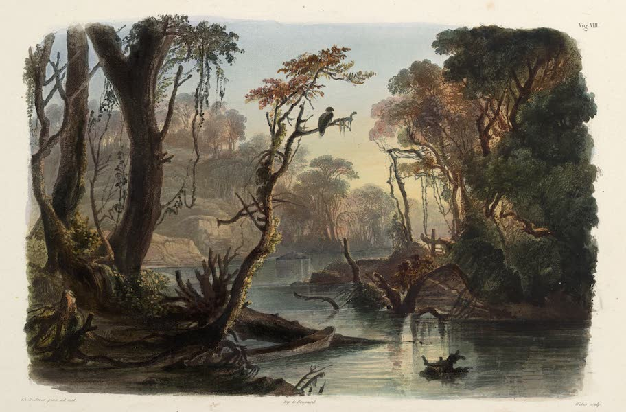 Voyage dans l'Interieur de l'Amerique du Nord Atlas - Cutoff-River, Arm des Wabash. / Cutoff-River, Bras du Wabash. / Cutoff-River, branch of the Wabash. (1840)