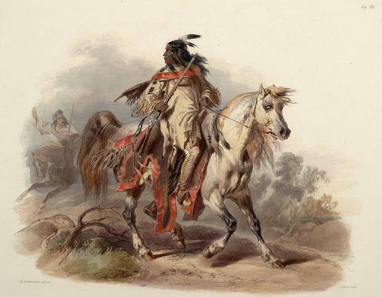 Voyage dans l'Interieur de l'Amerique du Nord Atlas - Blackfoot Indianer zu Pferd. / Indien Pieds Noir à cheval. / A Blackfoot Indian on horse-back. (1840)