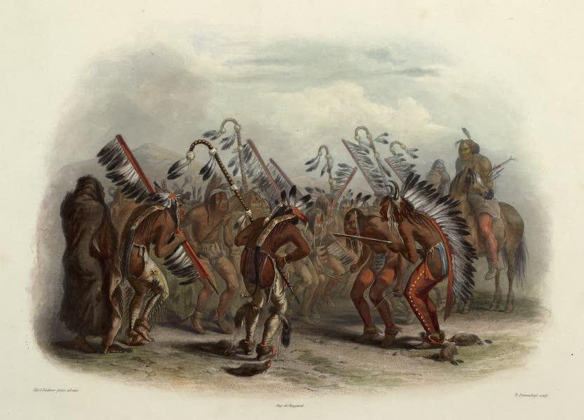 Voyage dans l'Interieur de l'Amerique du Nord Atlas - Ischohä-Kakoschóchatä, Tanz der Mandan Indianer. / Ischohä-Kakoschóchatä, Dance des Indiens Mandans. / Dance of the Manda Indians. (1840)