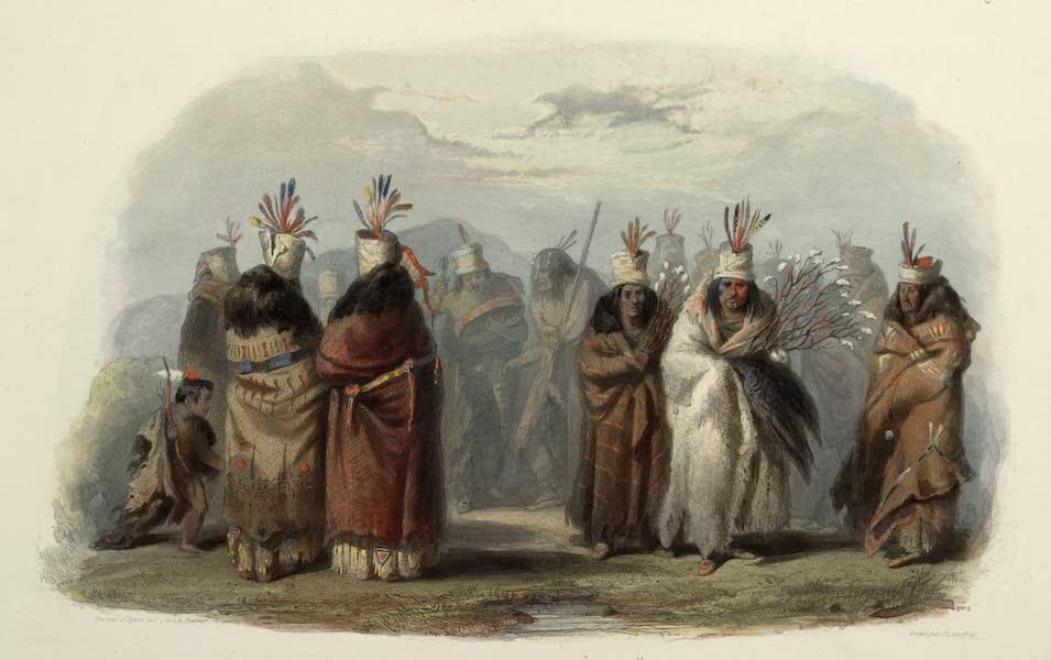 Voyage dans l'Interieur de l'Amerique du Nord Atlas - Ptihn-Tak-Ochatä, Tanz der Mandan Weiber. / Ptihn-Tak-Ochatä, Danse des femmes Mandans. / Ptihn-Tak-Ochatä, dance of the Mandan women. (1840)