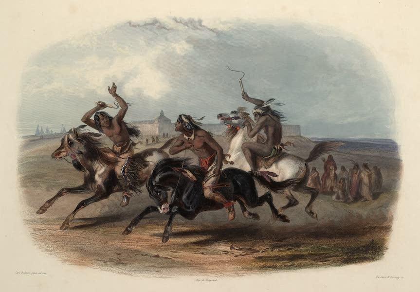 Voyage dans l'Interieur de l'Amerique du Nord Atlas - Pferderennen des Sioux Indianer bei Fort Pierre. / Course aux cheavaux des Indiens Sioux près du Fort Pierre. / Horse racing of Sioux Indians near Fort Pierre. (1840)