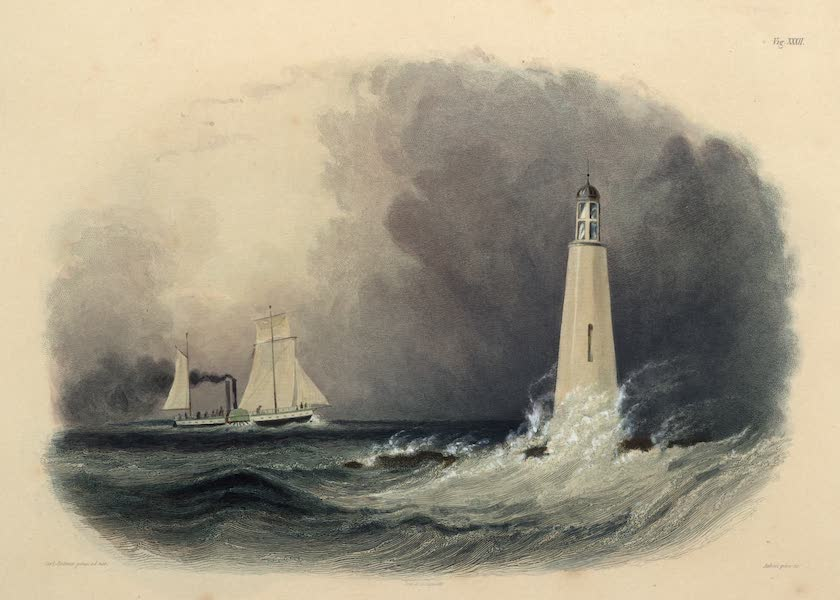 Voyage dans l'Interieur de l'Amerique du Nord Atlas - Leuchtthurm bei Cleveland am Erie See. / Phare de Clevelandsur le Lac Erie. / Cleveland Lighthouse on the Lake Erie. (1840)