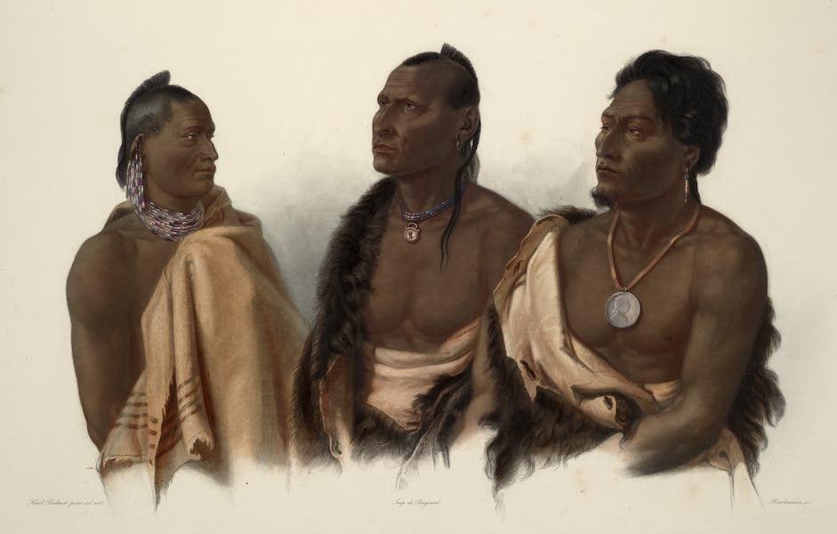 Voyage dans l'Interieur de l'Amerique du Nord Atlas - Missouri Indianer. Indien Missouri. Missouri Indian; / Oto Indianer. Indien Oto. Oto Indian; / Chef der Puncas. Chef des Puncas. Chief of the Puncas. (1840)