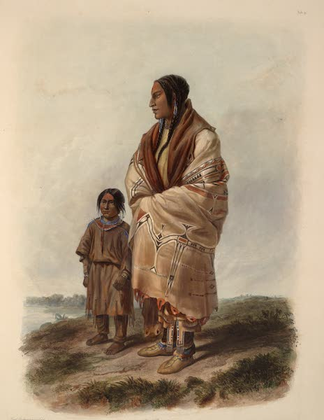 Voyage dans l'Interieur de l'Amerique du Nord Atlas - Dacota indianerin und Assiniboin Mädchen. / Indienne Dacota et jeune fille Assiniboine. / Dacota woman and Assiniboin girl. (1840)