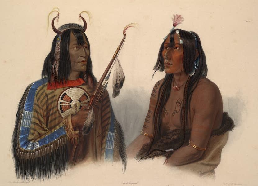Voyage dans l'Interieur de l'Amerique du Nord Atlas - Noápeh, Assiniboin Indianer. Noápeh, Indien Assiniboin. / Noápeh, an Assiniboin Indian; Psíhdjä-Sáhpa, Yanktonan Indianer. / Psíhdjä-Sáhpa, Indien Yanktonan. Psíhdjä-Sáhpa, a Yanktonan Indian. (1840)