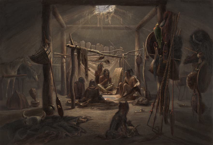 Voyage dans l'Interieur de l'Amerique du Nord Atlas - Das Innere der Hutte eines Mandan Häuptlings. / Interieur de la cabane d'un chef Mandan. / The interior of the hut of a Mandan chief. (1840)