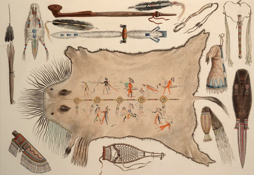Voyage dans l'Interieur de l'Amerique du Nord Atlas - Indianische geräthschaften und Waffen. / Ustensiles et armes Indiens. / Indian utensils and arms. (1840)