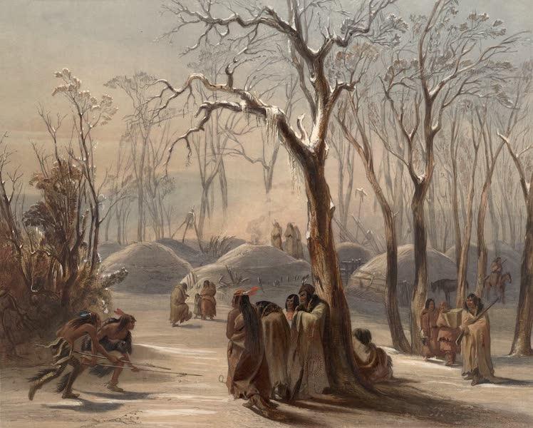 Voyage dans l'Interieur de l'Amerique du Nord Atlas - Winterdorf der Mönnitarris. / Village d'hiver des Meunitarris. / Winter village of the Minatarres. (1840)