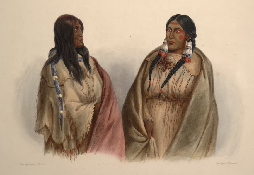 Voyage dans l'Interieur de l'Amerique du Nord Atlas - Schlangen-Indianerinn. Indienne serpent. Woman of the Snake-tribe; / Crih-Indianerinn. Indienne Crih. Woman of the Cree-tribe. (1840)