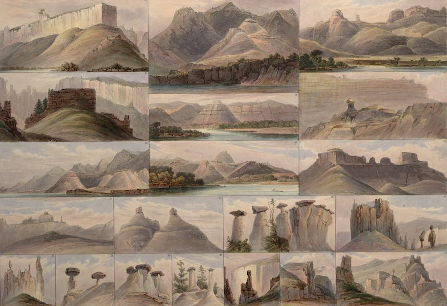 Voyage dans l'Interieur de l'Amerique du Nord Atlas - Merkwürdige Hügel an obern Missouri. / Collines singulières su le haut Missouri. / Remarkable hills on the upper Missouri. [II] (1840)