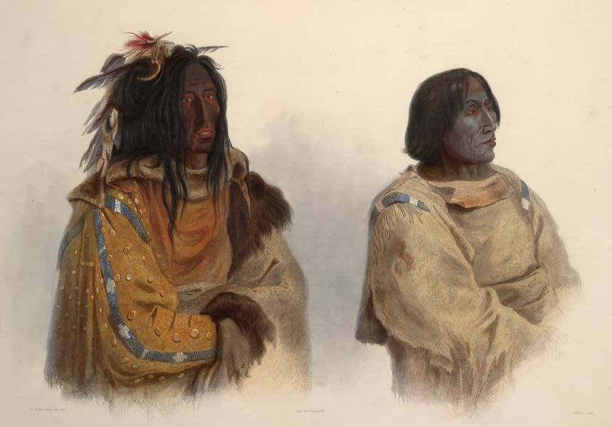 Voyage dans l'Interieur de l'Amerique du Nord Atlas - Mehkskeme-Sukahs, Blackfoot-chef. Mehkskeme-Sukahs, Chef des Pieds-noirs. Mehkskeme-Sukahs, Blackfoot-chief; Tatsicki-Stomick, Piekann-chef. Tatsicki-Stomick, Chef des Piekanns. Tatsicki-Stomick, Piekann chief. (1840)
