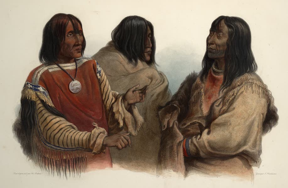Voyage dans l'Interieur de l'Amerique du Nord Atlas - Chef der Blut Indianer. Chef des Indiens Sangs. Chief of the Blood-Indians; Kriegs Chef der Piekann Indianer. Chef de guerre des Indines Piékanns. War-chief of the Piekann Indians; Kutanä Indianer. Indien Koutané. Koutani Indian. (1840)