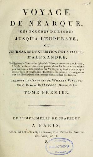 French - Voyage de Nearque, des bouches de l'Indus jusqu'a l'Euphrate Vol. 1