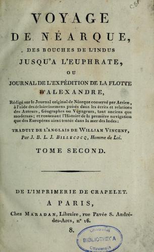 French - Voyage de Nearque, des bouches de l'Indus jusqu'a l'Euphrate Vol. 2