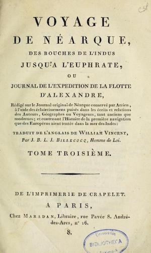 French - Voyage de Nearque, des bouches de l'Indus jusqu'a l'Euphrate Vol. 3