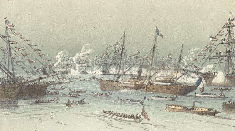 Voyage des Souverains du Canal du Suez - Entree a Port Said du Yacht Imperial L'Aigle and L'Aigle en Rade I (1870)