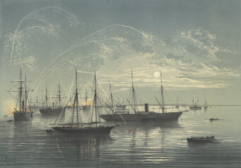 Voyage des Souverains du Canal du Suez - Mouillage de la Flottille aux Lacs Amers (1870)