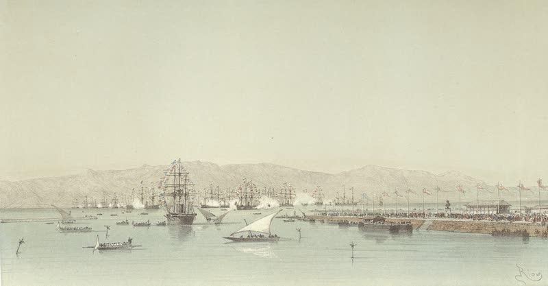 Voyage des Souverains du Canal du Suez - L'Escadre en Rade de Suez (1870)