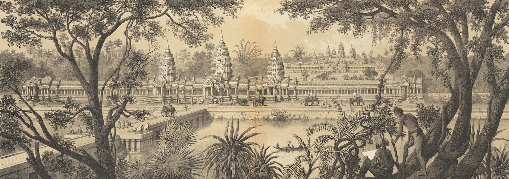 Voyage d'Exploration en Indo-Chine [Atlas-Vol. 1] - Colonnade de l'Entree Quest et Vue Generale d'Angcor Wat (1873)