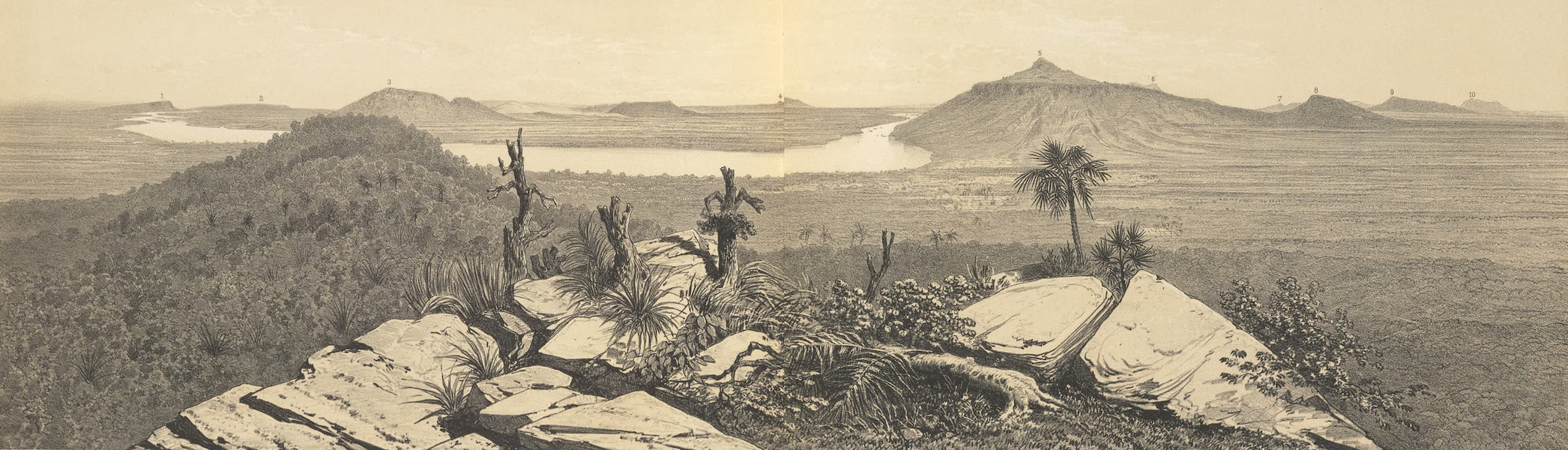 Voyage d'Exploration en Indo-Chine [Atlas-Vol. 1] - Panorama de la Vallee du Fleuve Pris du Sommet de Phou Salao (1873)