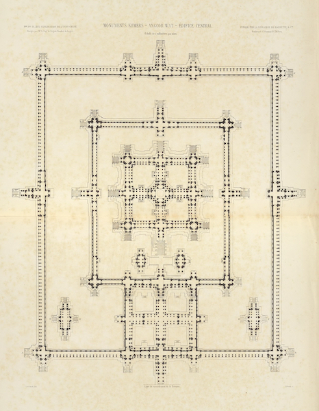 Voyage d'Exploration en Indo-Chine [Atlas-Vol. 2] - Monuments Khmers - Angcor Wat - Edifice Central (1873)