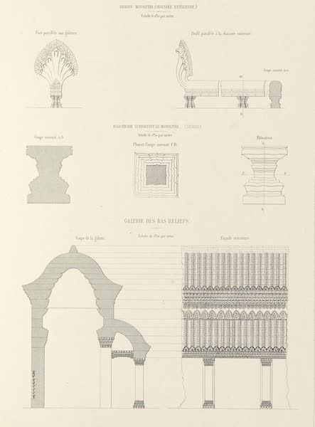 Voyage d'Exploration en Indo-Chine [Atlas-Vol. 2] - Monuments Khmers - Angcor Wat Details [I] (1873)