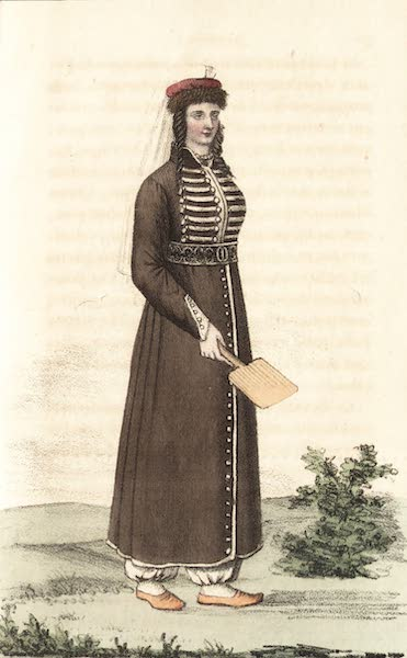 Voyage en Perse Vol. 1 - Dame persanne a la promenade couverte du Chadera et du Roubend (1825)