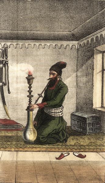 Voyage en Perse Vol. 1 - Persan se promenant a cheval en fumant (1825)
