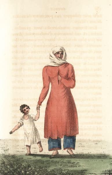 Voyage en Perse Vol. 1 - Femme armenien ne tenant un enfant par la main (1825)
