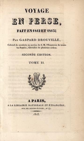 Voyage en Perse Vol. 2 - Title Page (1825)