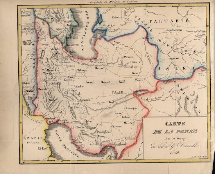 Voyage en Perse Vol. 2 - Carte de la Perse Pour le Voyage du Colonel G Dourville 1819 (1825)