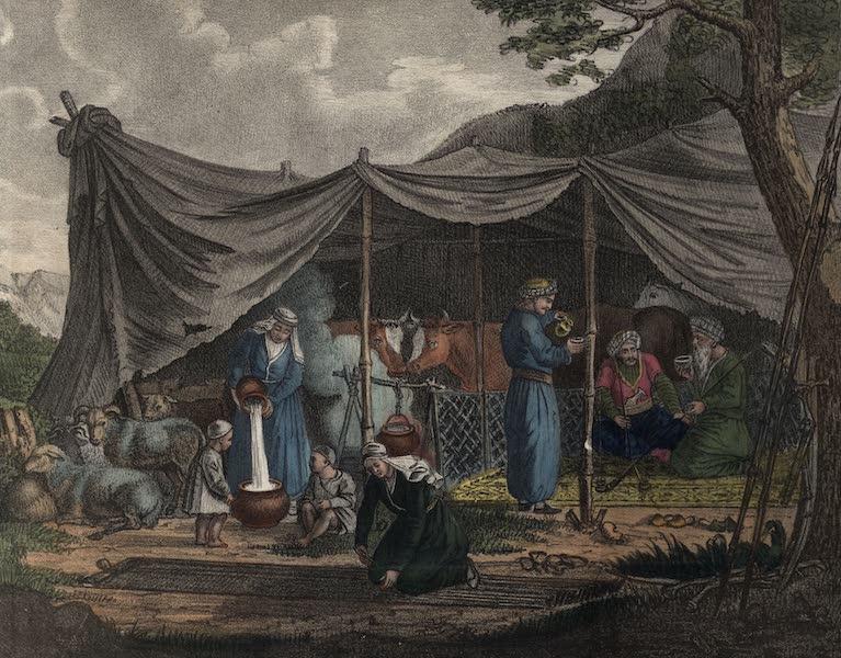 Voyage en Perse Vol. 2 - Famille nomade curde sous une Cente avec leurs bestiaux (1825)