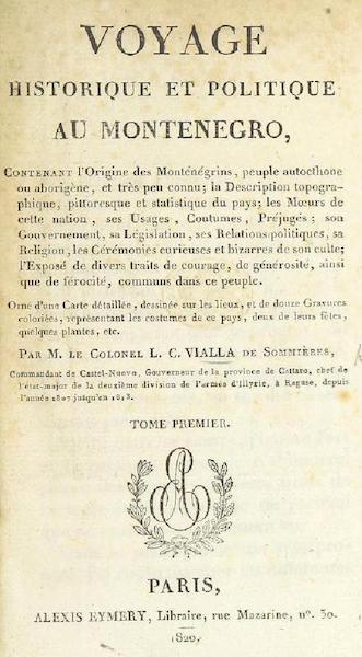 Voyage Historique et Politique au Montenegro - Title Page - Volume 1 (1820)