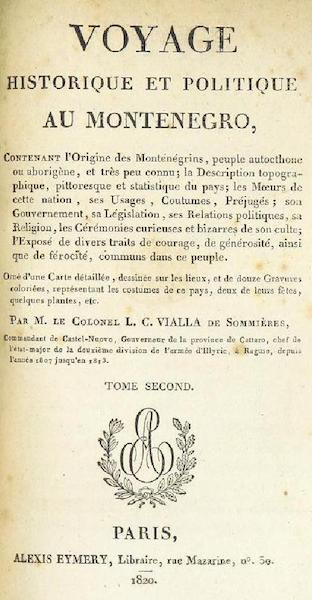 Voyage Historique et Politique au Montenegro - Title Page - Volume 2 (1820)