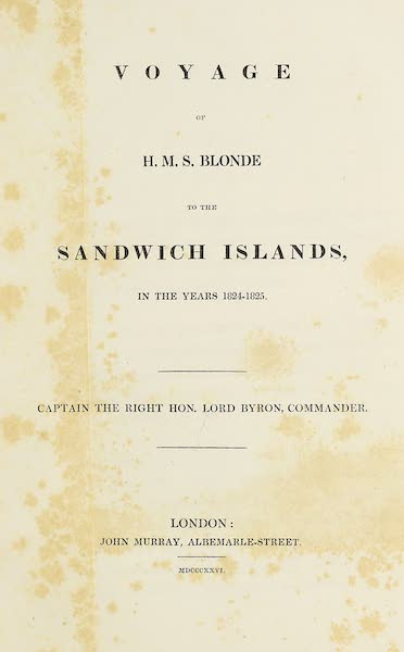 Voyage of H.M.S. Blonde to the Sandwich Islands - Title Page (1826)