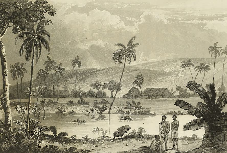 Voyage of H.M.S. Blonde to the Sandwich Islands - View of part of Lahaina in Maui (1826)