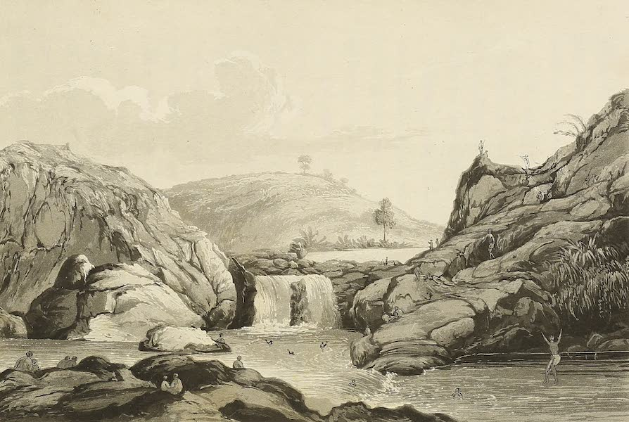 Voyage of H.M.S. Blonde to the Sandwich Islands - Waterfall in Byron Bay (1826)
