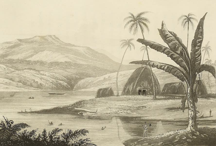 Voyage of H.M.S. Blonde to the Sandwich Islands - Lord Byron's house at Byron Bay (1826)