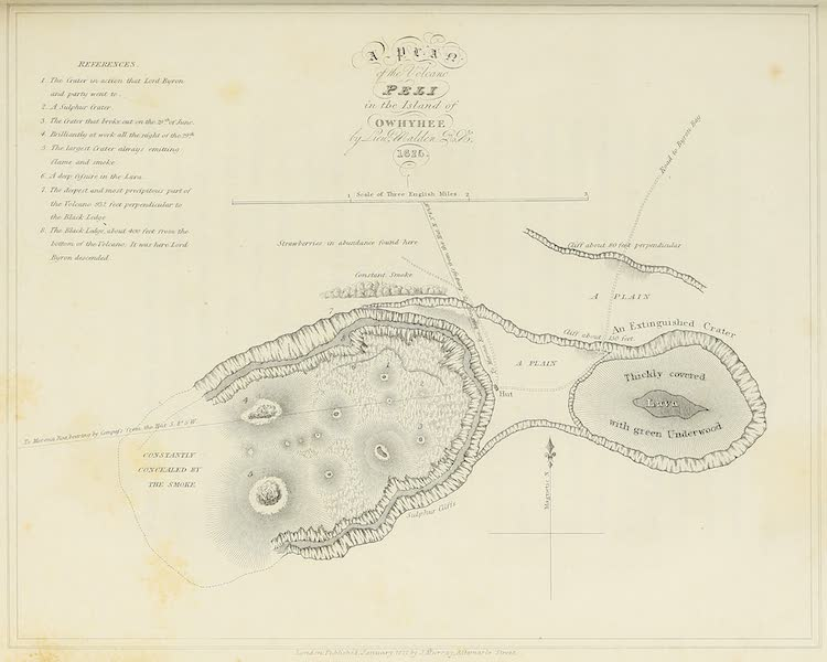 Voyage of H.M.S. Blonde to the Sandwich Islands - The Volcano Peli in the Island of Owhyhee (1826)