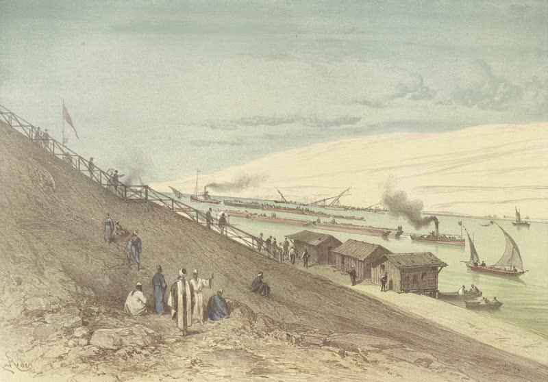 Voyage Pittoresque a Travers l'Isthme de Suez - Le seuil d'El-Guisr, prise de la rive Asie (1870)