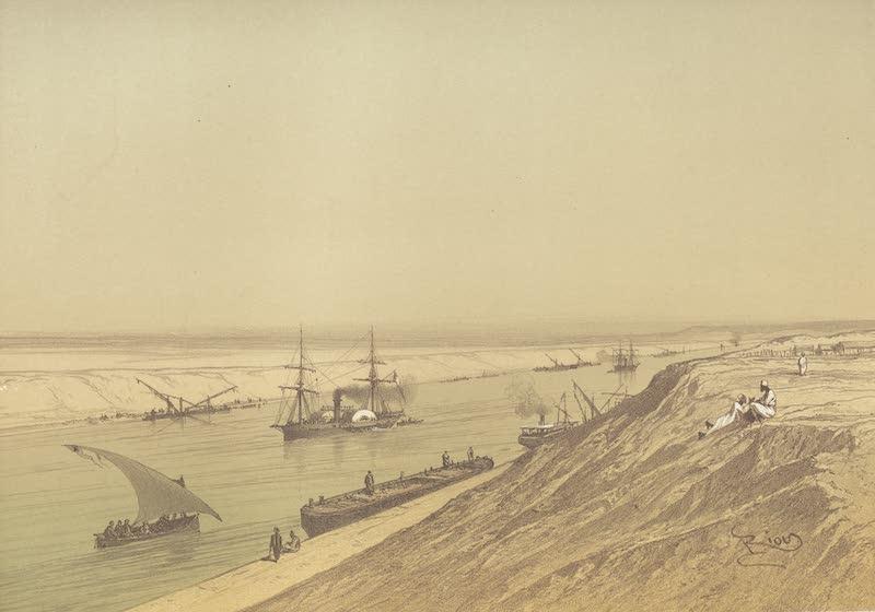 Voyage Pittoresque a Travers l'Isthme de Suez - Le canal maritime au Serapeum (1870)