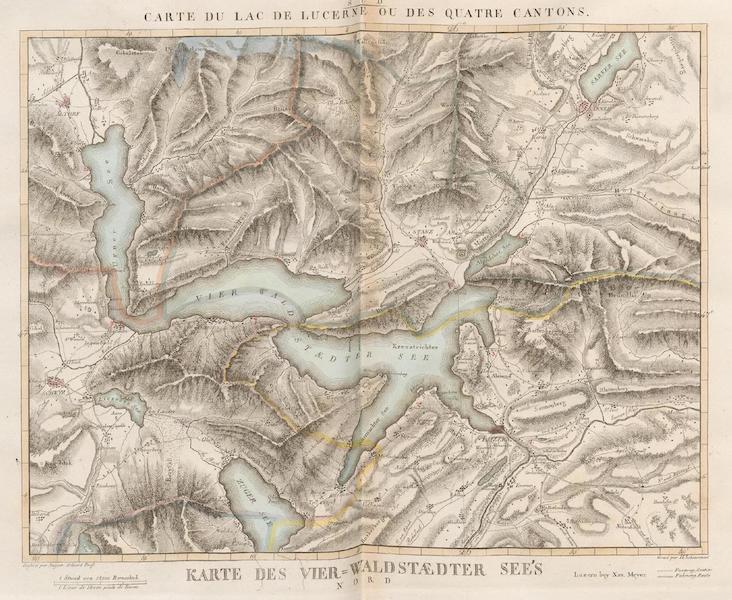 Voyage Pittoresque au Lac des Waldstettes ou des IV Cantons - Carte du Lac de Lucerne ou des Quatre Cantons (1817)