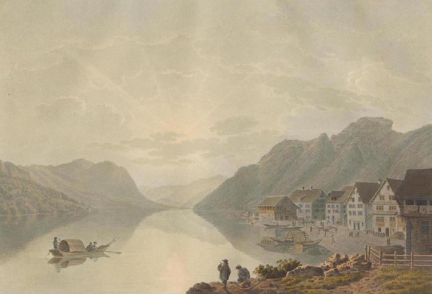 Voyage Pittoresque au Lac des Waldstettes ou des IV Cantons - Vue de Brunnen vers le Canton d'Unterwalden (1817)